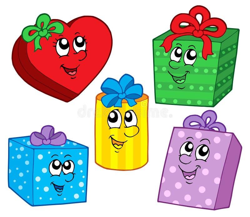 Colección linda de los regalos de la Navidad stock de ilustración