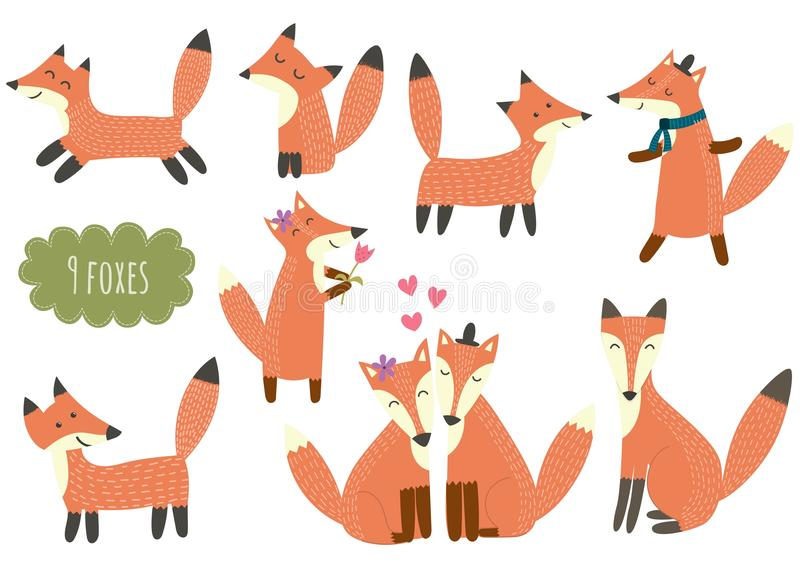 Colección linda de los zorros stock de ilustración