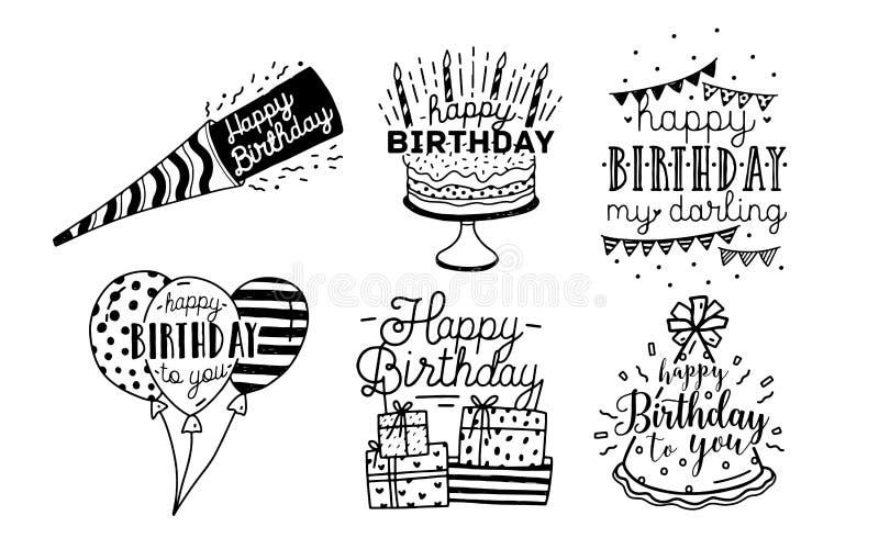 Colección linda del diseño de las inscripciones de los saludos del feliz cumpleaños Mano blanco y negro dibujada poniendo letras  ilustración del vector