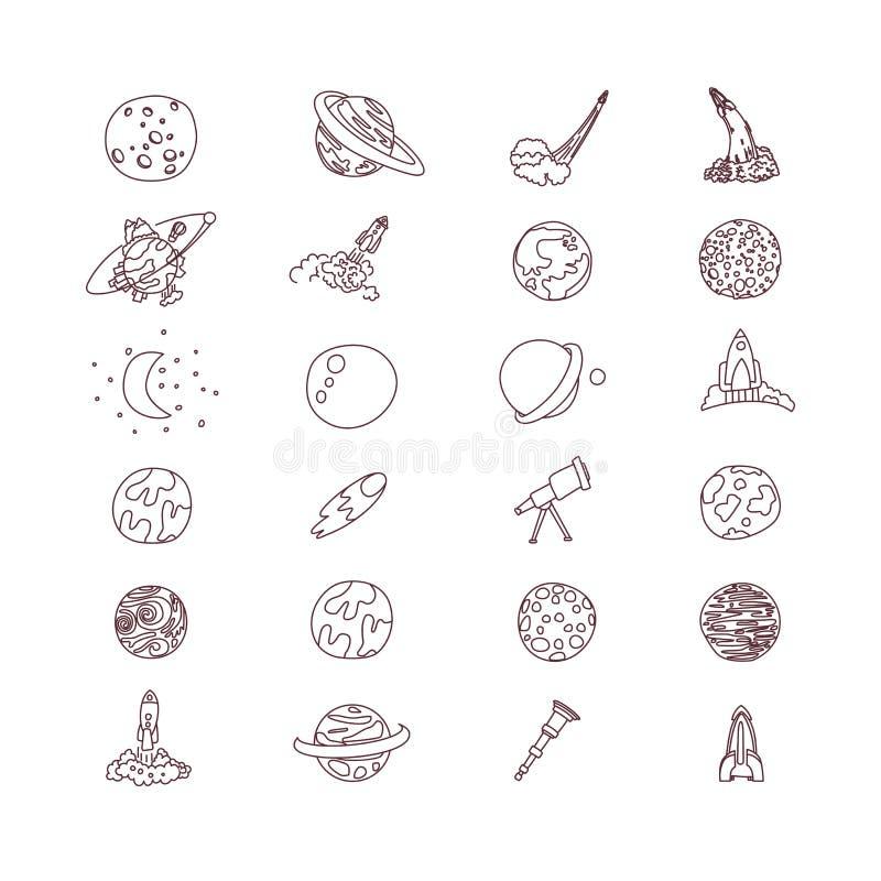 Colección linda del icono del vector del cosmos del asrtonaut del espacio de la historieta Planeta, cohete, iconos del observator stock de ilustración