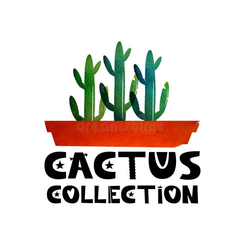 Colección linda del texto de las letras de cactus El logotipo para hacer publicidad hace compras especializándose en los cactus C libre illustration
