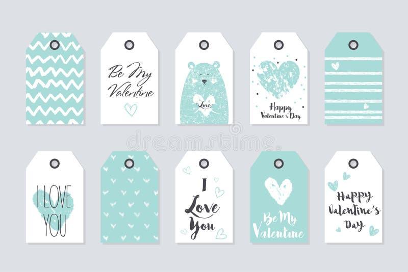 Colección linda del vector de 10 etiquetas del regalo Día de tarjeta del día de San Valentín feliz stock de ilustración