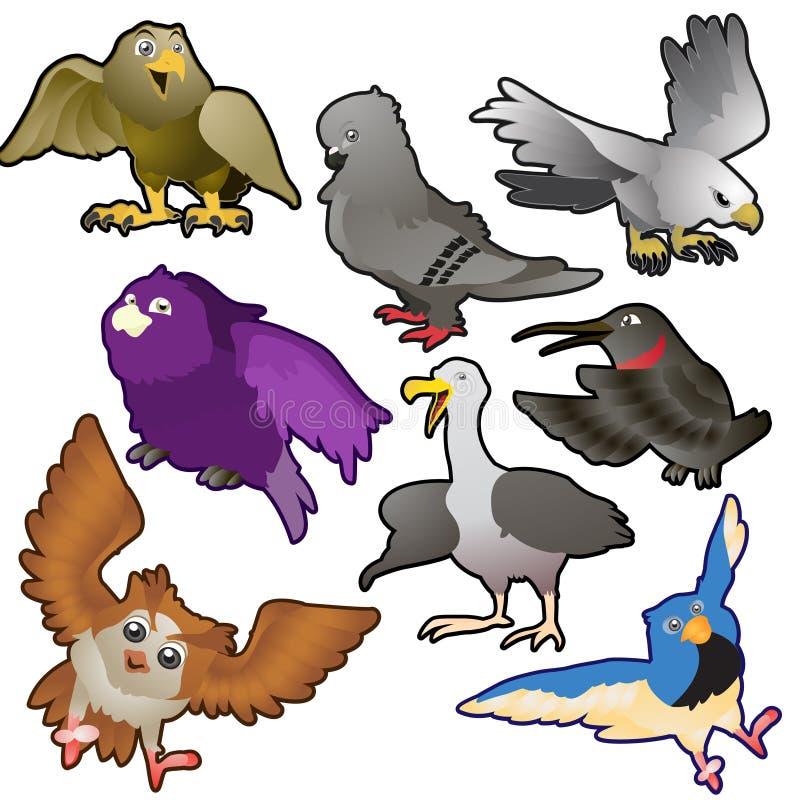 Colección linda del vector de los pájaros ilustración del vector