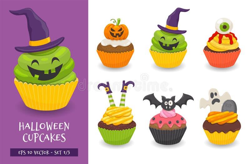Colección linda y asustadiza de la magdalena de Halloween stock de ilustración