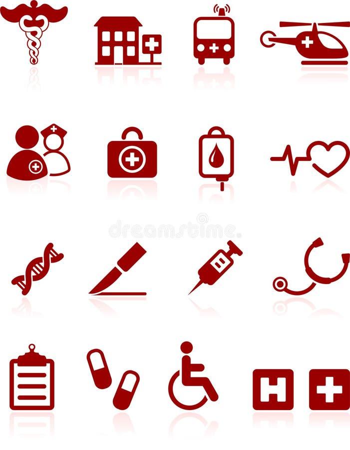 Colección médica del icono del Internet del hospital stock de ilustración