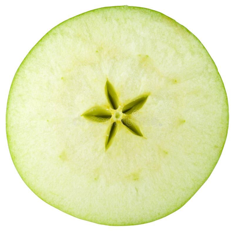 Colección macra del alimento - rebanada verde de la manzana fotografía de archivo