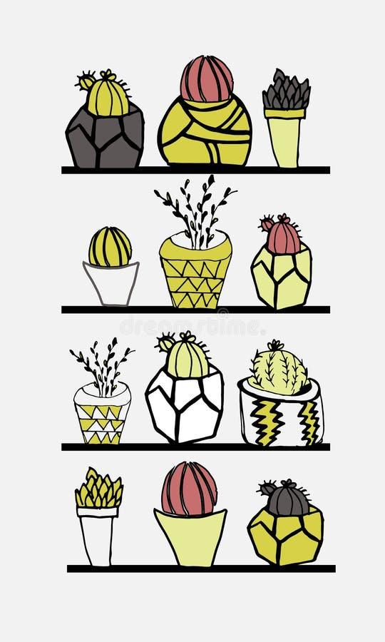 Colección a mano de cactus y de succulents Illustra del vector ilustración del vector