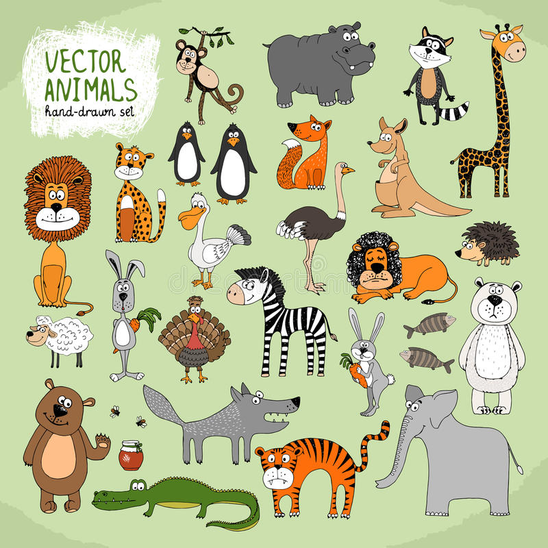 Colección a mano de los animales salvajes del vector stock de ilustración