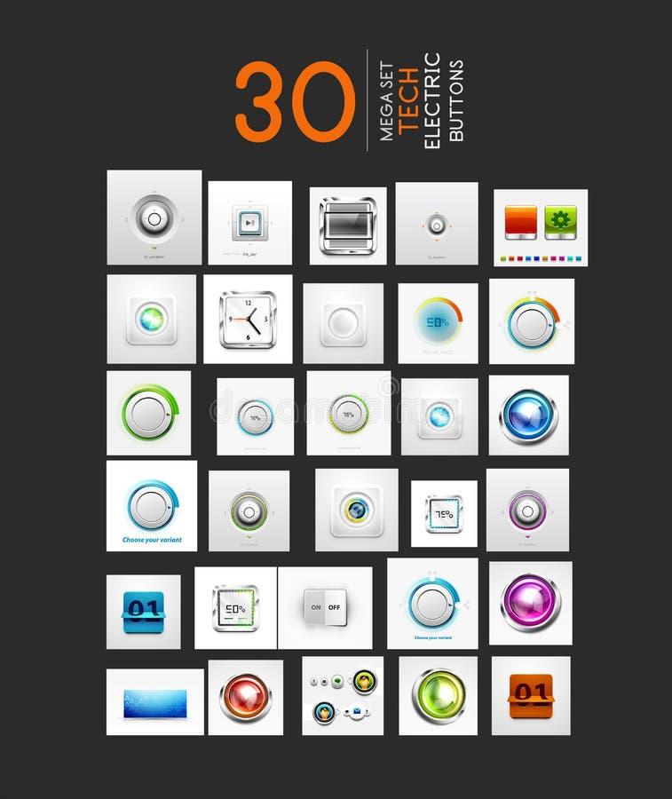 Colección mega de botones del vector UI fijados stock de ilustración