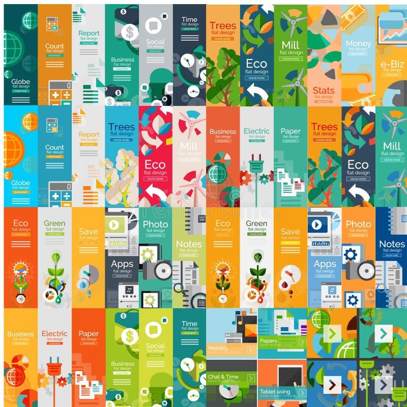 Colección mega de conceptos infographic del web plano ilustración del vector