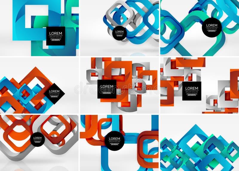 Colección mega de fondos del extracto del vector de la forma 3d con las formas geométricas cortadas del estilo 3d - líneas, cuadr stock de ilustración