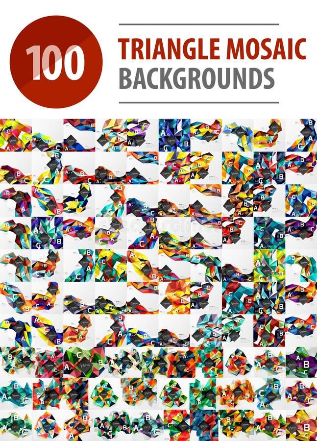 Colección mega de 100 fondos poligonales del extracto del mosaico del triángulo libre illustration