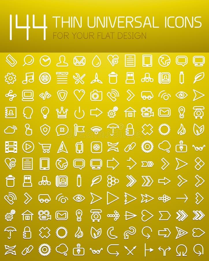 Colección mega 144 de la línea fina iconos planos de Internet del diseño ilustración del vector