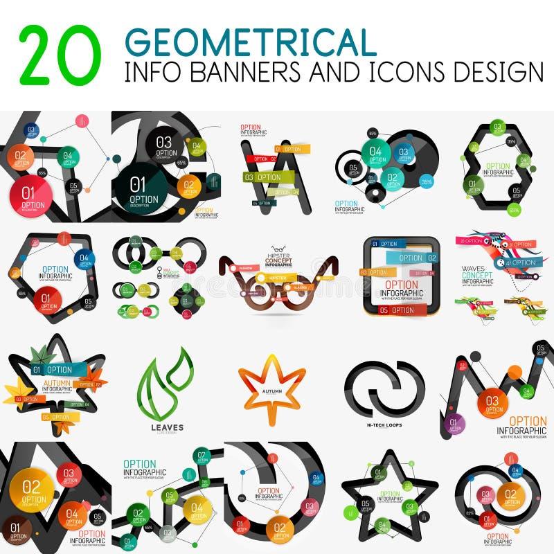 Colección mega de plantilla digital del diagrama del infographics del vector con las etiquetas engomadas libre illustration