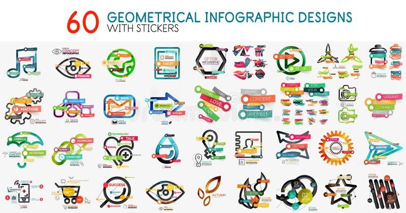 Colección mega de plantilla digital del diagrama del infographics del vector con las etiquetas engomadas ilustración del vector
