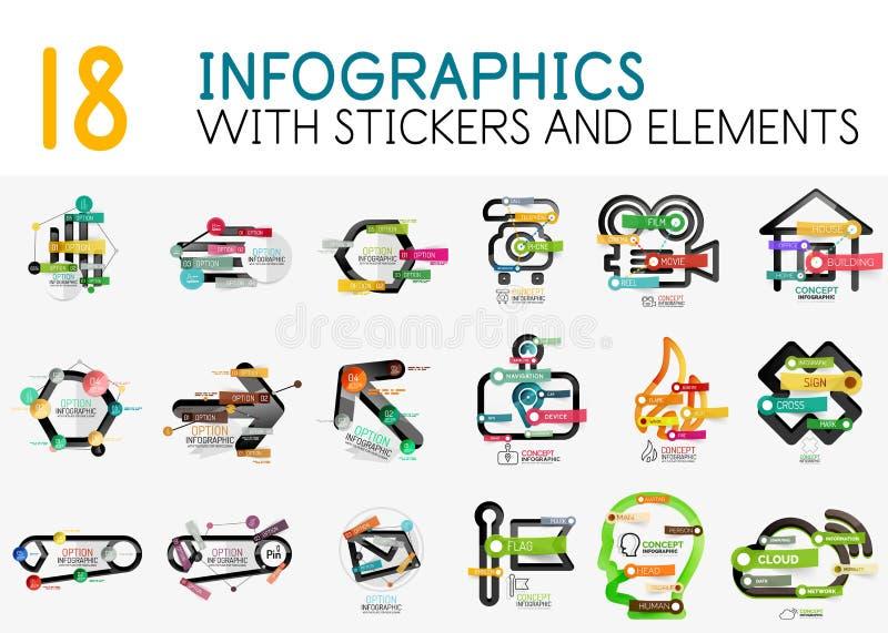 Colección mega de plantilla digital del diagrama del infographics del vector con las etiquetas engomadas stock de ilustración