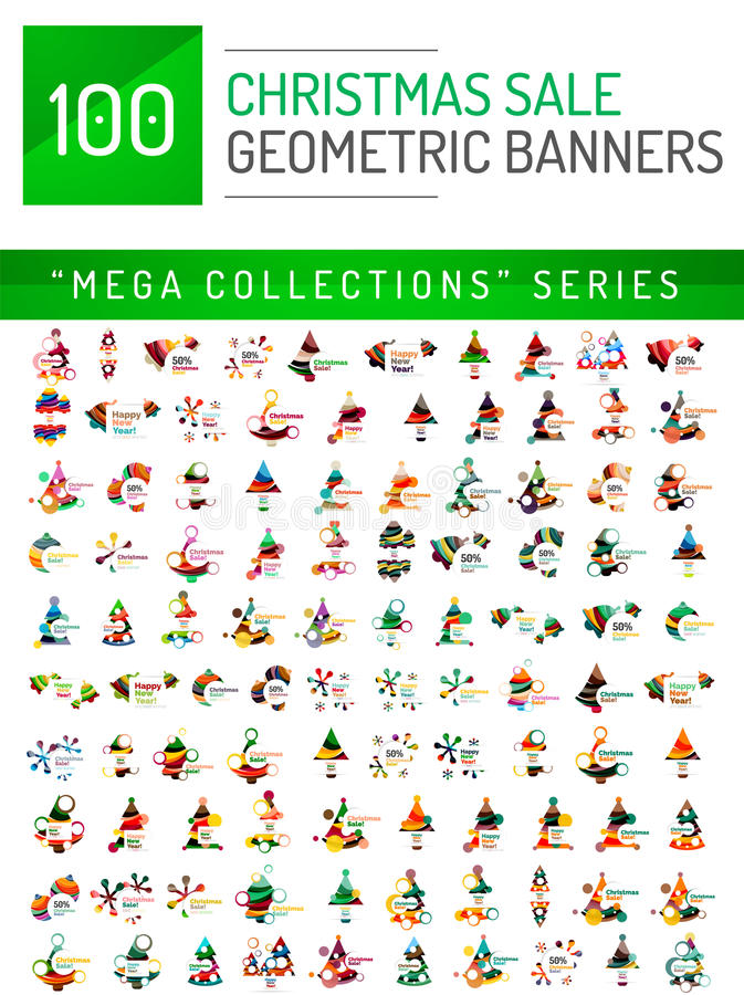 Colección mega de plantillas de la bandera de la venta de la Navidad stock de ilustración