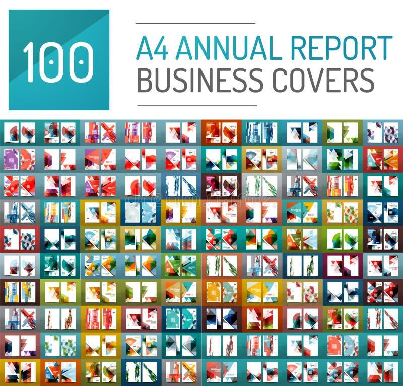 Colección mega de 100 plantillas del folleto del informe anual del negocio ilustración del vector