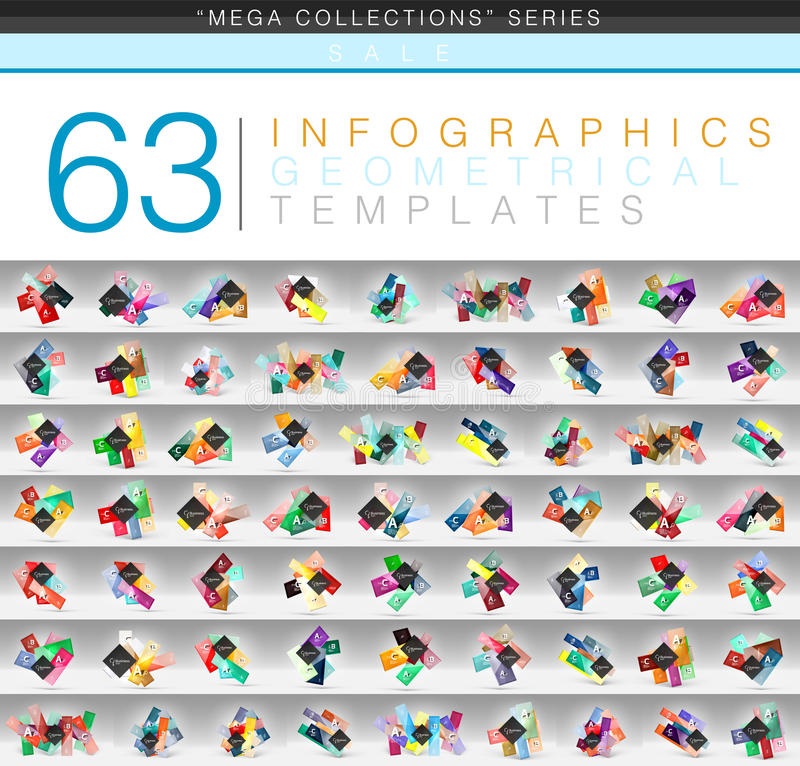 Colección mega de plantillas infographic del color o del web geométricas de la bandera con el texto de la opción del ABC de la mu ilustración del vector