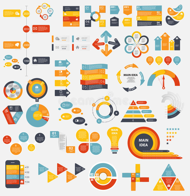 Colección mega de plantillas planas de Infographic para ilustración del vector
