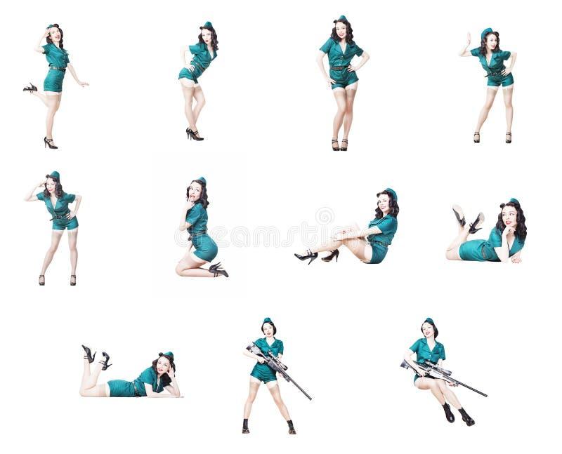 Colección militar de la muchacha del perno-para arriba fotos de archivo