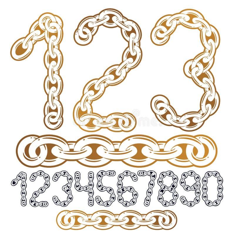 Colección moderna de los números del vector Los números de moda para el uso como cartel diseñan elementos Hecho con la cadena del libre illustration