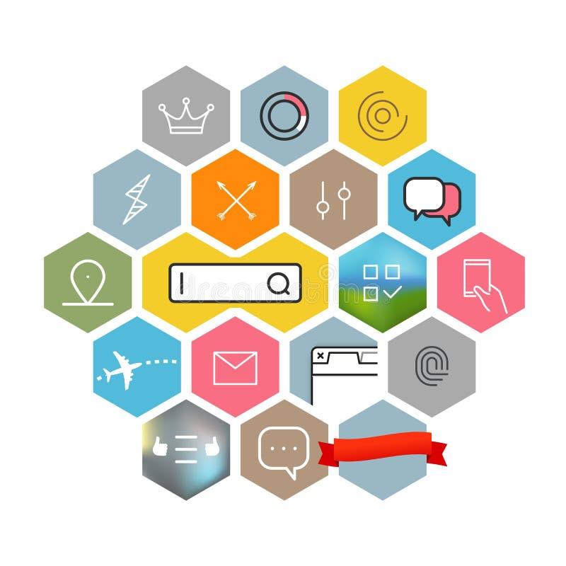 Colección moderna de los pictogramas del web y de la aplicación móvil Iconos del intercece del lineart del color stock de ilustración