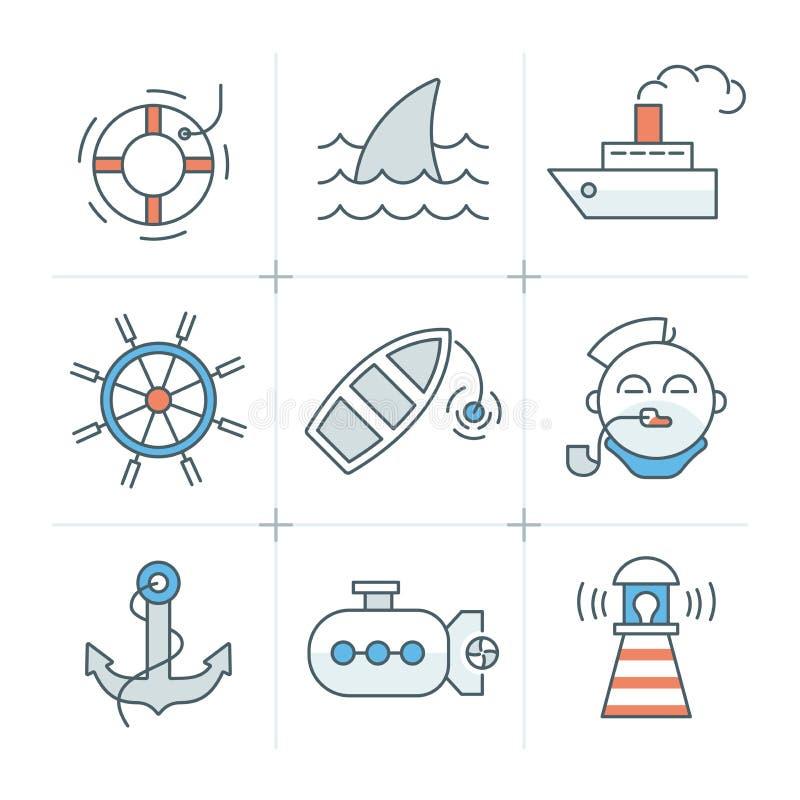 Colección náutica de los iconos libre illustration