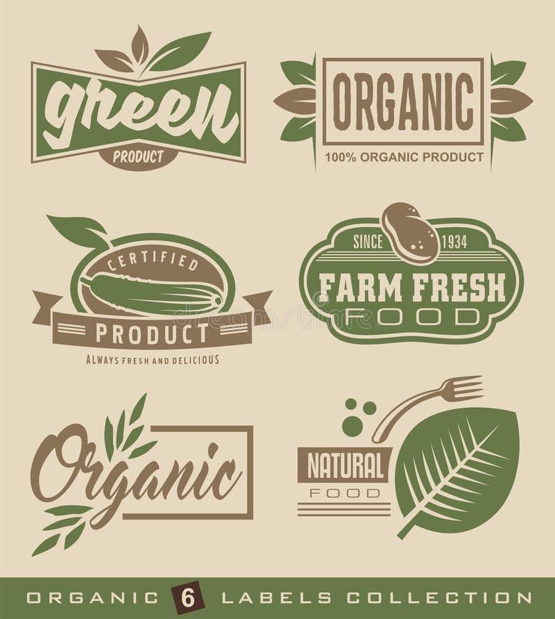 Colección natural orgánica de las etiquetas y de las etiquetas engomadas de la comida ilustración del vector