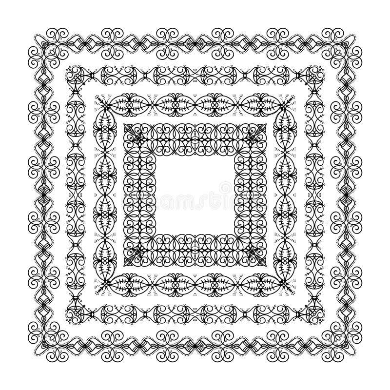 Colección negra ornamental del marco ilustración del vector
