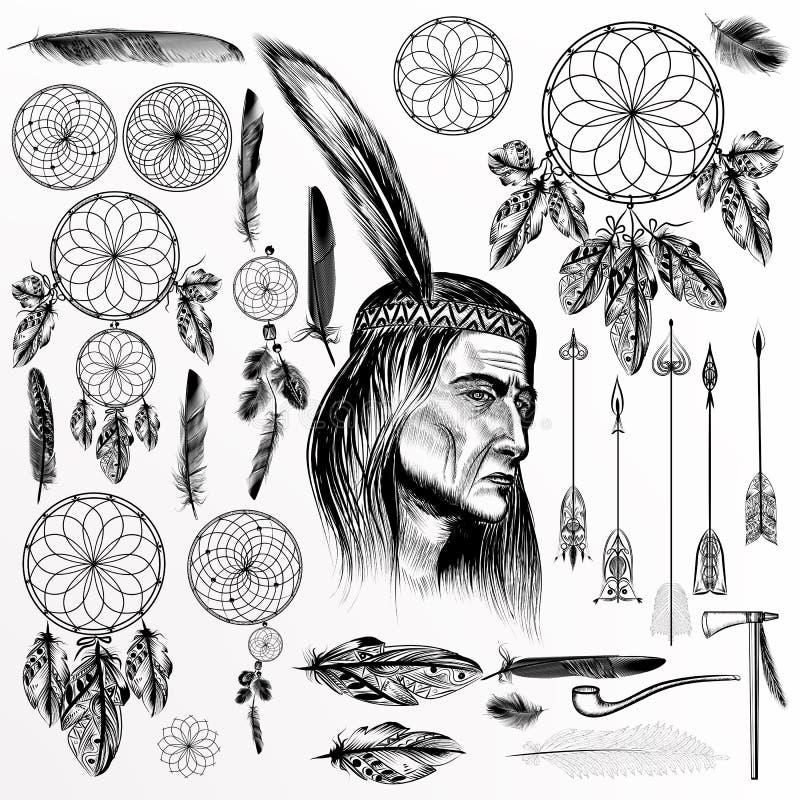 Colección o sistema grande de elementos tribales dibujados mano del vector stock de ilustración