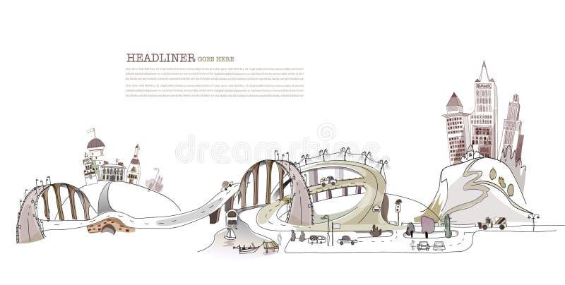 Colección ocupada de la ciudad del ejemplo de los caminos, transporte libre illustration