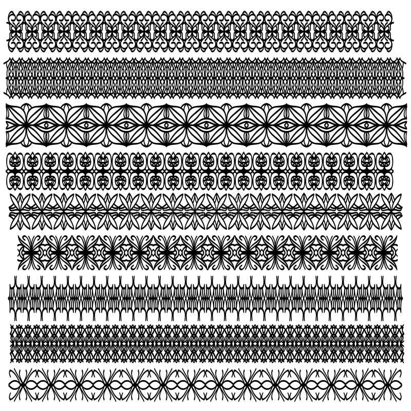 Colección ornamental negra del ajuste ilustración del vector