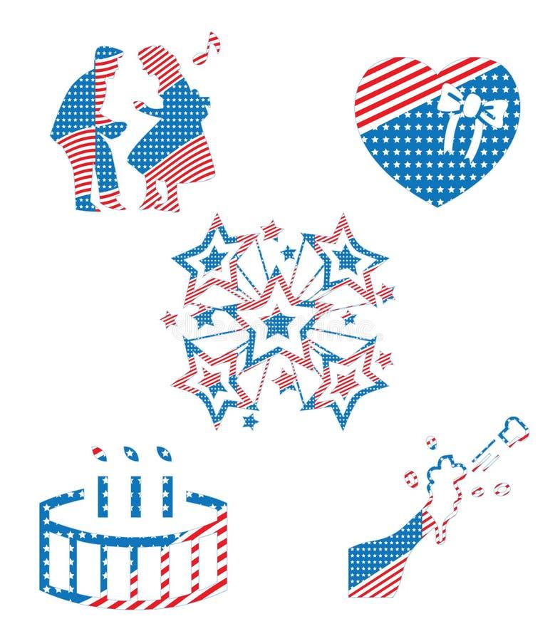 Colección patriótica nacional de los símbolos de la celebración de días festivos de los E.E.U.U. América imagenes de archivo