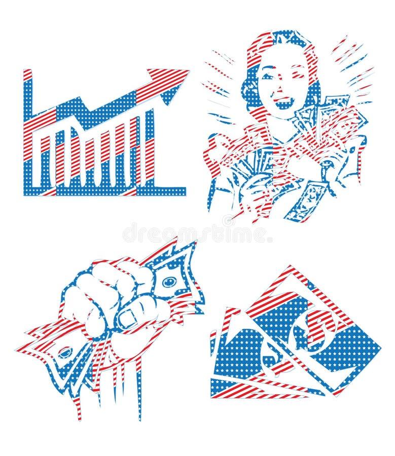 Colección patriótica retra financiera de los símbolos del esquema de los E.E.U.U. América foto de archivo