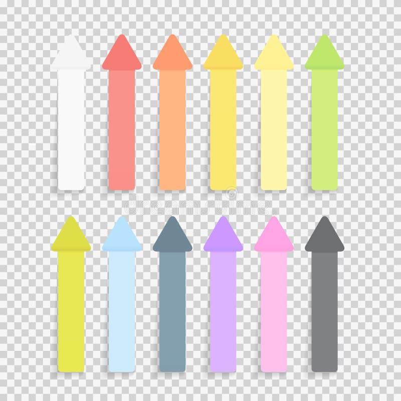 Colección pegajosa del paquete de las notas de las hojas del papel de la oficina fijada con la sombra en el ejemplo transparente  ilustración del vector