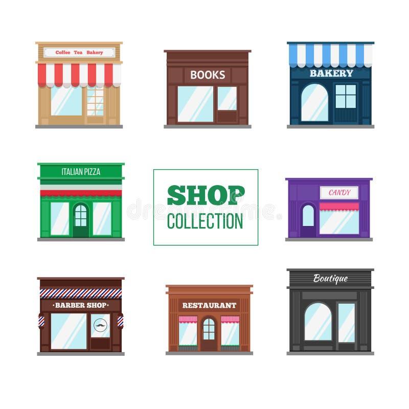 Colección plana de las tiendas y de las tiendas ilustración del vector