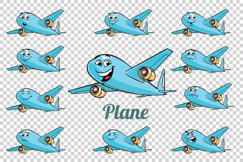 Colección plana de los caracteres de las emociones de la aviación del avión de pasajeros del aeroplano ilustración del vector