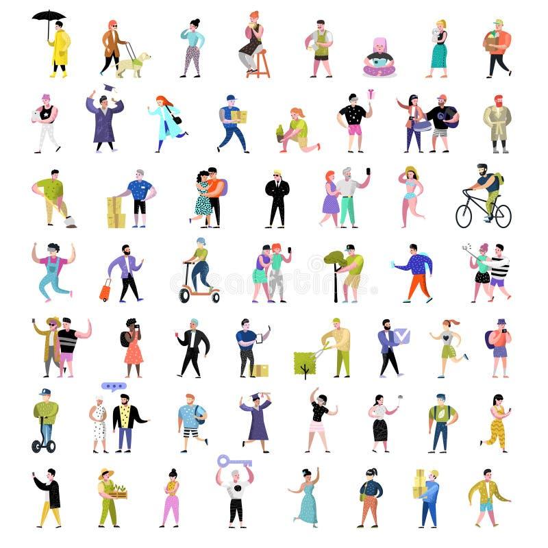 Colección plana de los caracteres de la gente Historietas del hombre y de la mujer en diversas acciones, actitudes y actividades  stock de ilustración