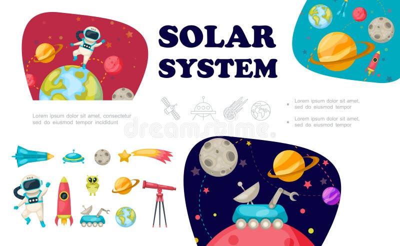 Colección plana de los elementos del espacio stock de ilustración