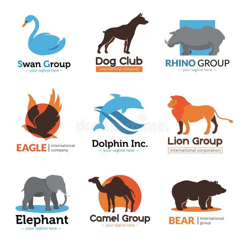 Colección plana de los emblemas de los animales salvajes stock de ilustración