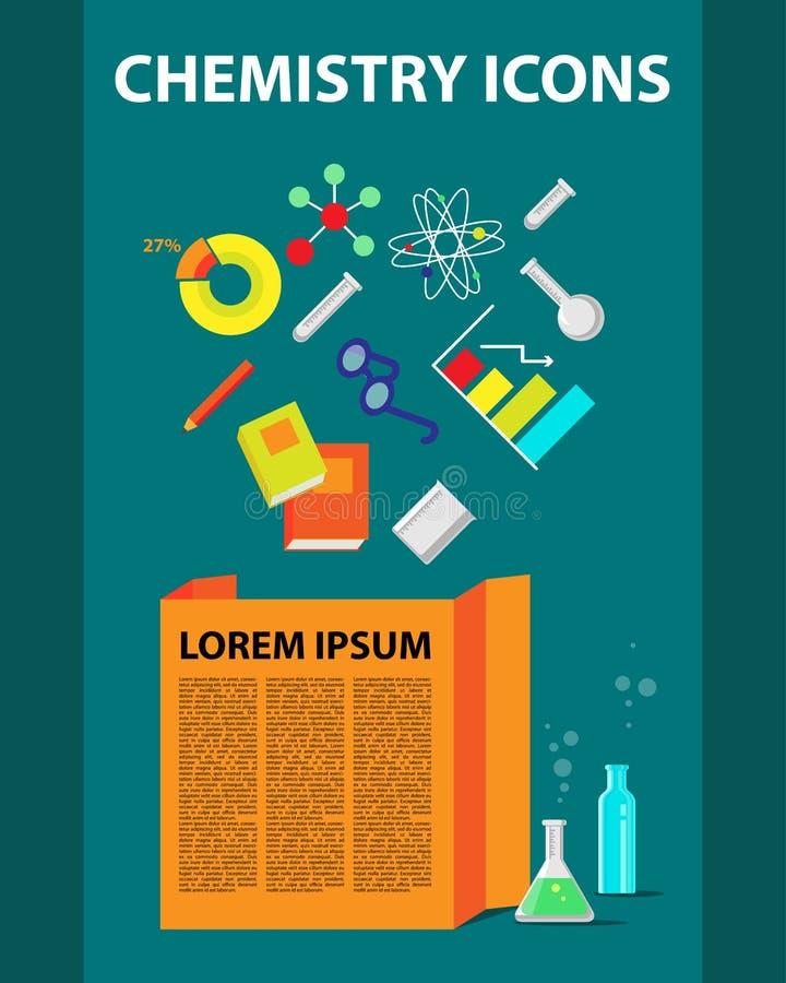 Colección plana de los iconos de la química ilustración del vector