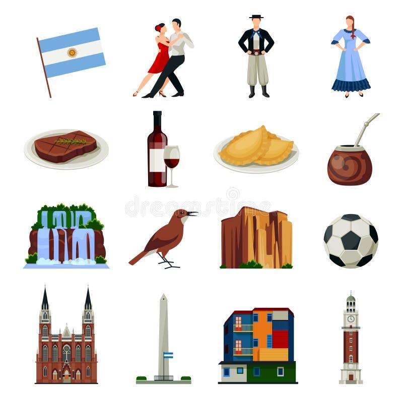 Colección plana de los iconos de los símbolos de la Argentina ilustración del vector