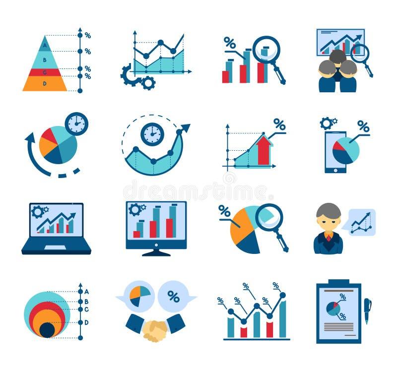 Colección plana de los iconos del análisis de datos libre illustration