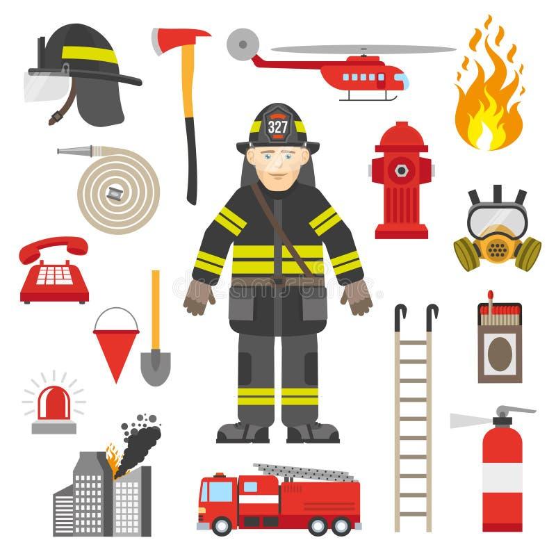 Colección plana de los iconos del equipo profesional del bombero libre illustration
