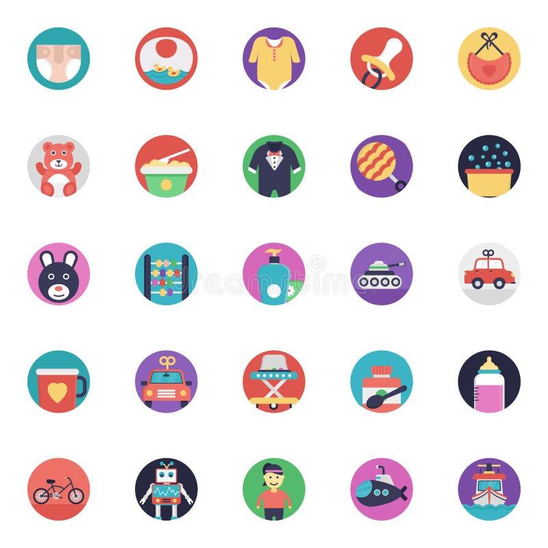 Colección plana de los iconos del vector del bebé y de los niños ilustración del vector
