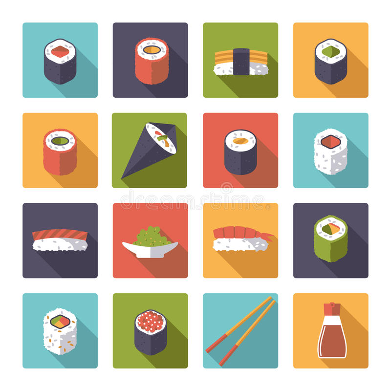 Colección plana de los iconos del vector del diseño del sushi stock de ilustración