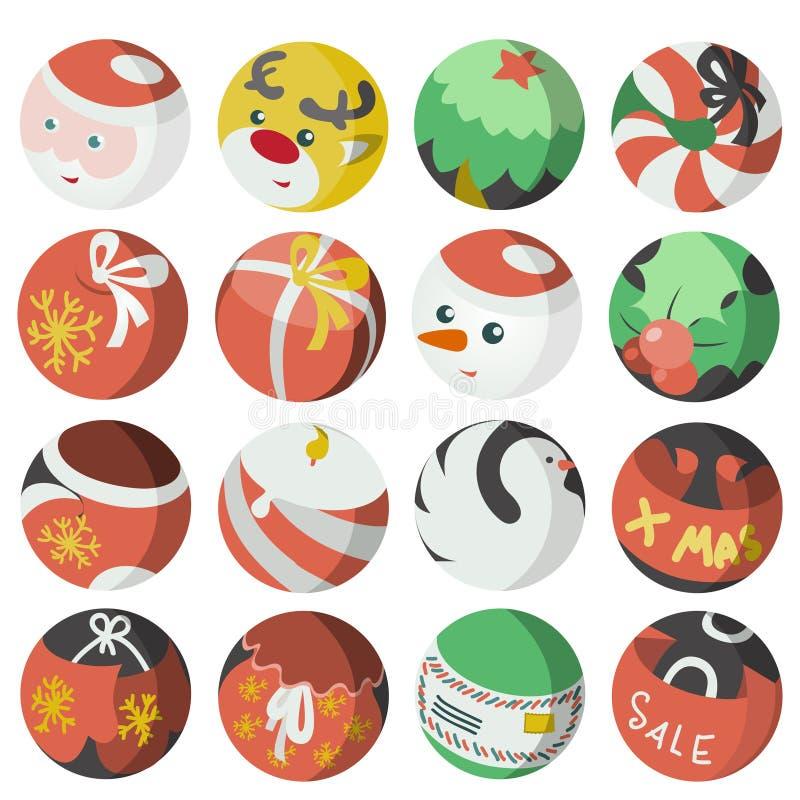 Colecci n plana de los objetos de los iconos de la navidad ilustraci n del vector ilustraci n - Objetos de navidad ...