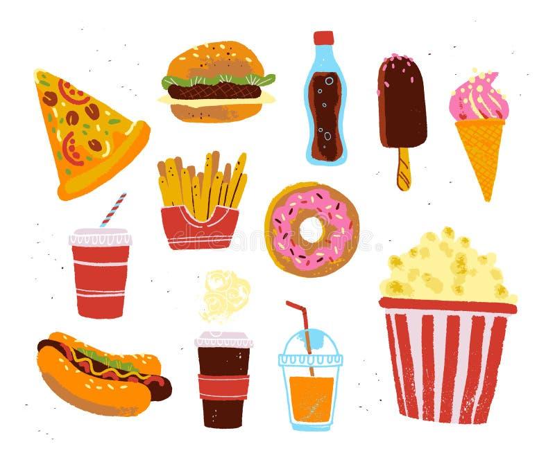 Colección plana de objetos de la comida de alimentos de preparación rápida - pizza, hamburguesa, buñuelo, café, palomitas, fritad ilustración del vector