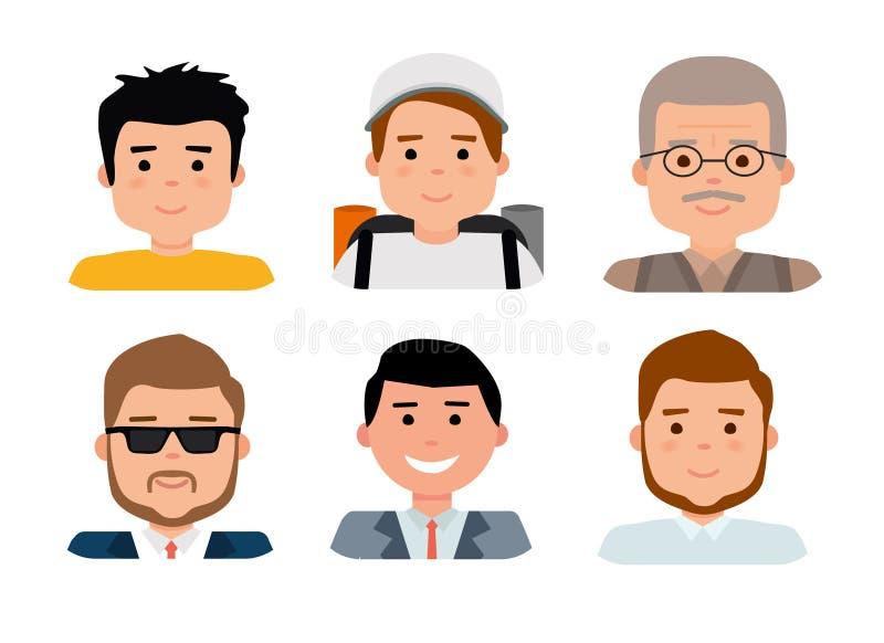 Colección plana del avatar, sistema de 6 iconos del hombre en el estilo plano con las caras, grupo de personas de los avatares ilustración del vector